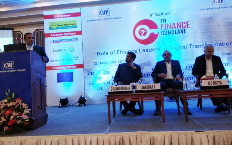 Evolvus CEO, Balaji Jagannathan at CII 6th TN Finance Conclave
